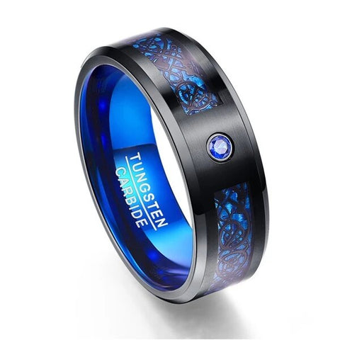 Black Dragon Tungsten Carbide with Blue Cubic Zirconia Wedding Band