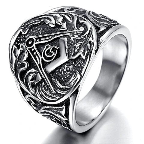 Men's Stainless Steel Vintage Masonic Ring