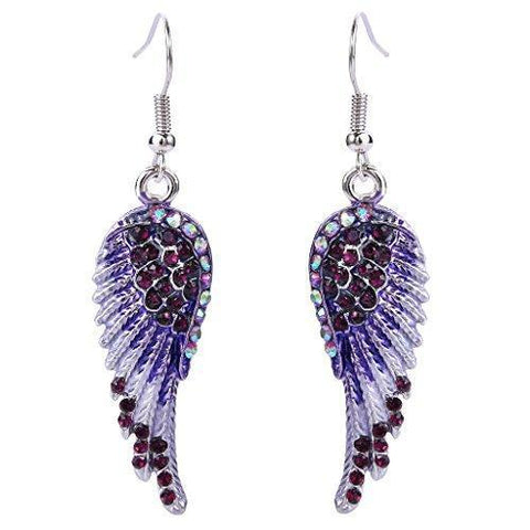 Colorful Crystal Angel Wing Hook Fashion Earrings