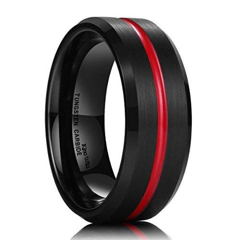 Sporty Black Red Groove Tungsten Carbide Wedding Ring