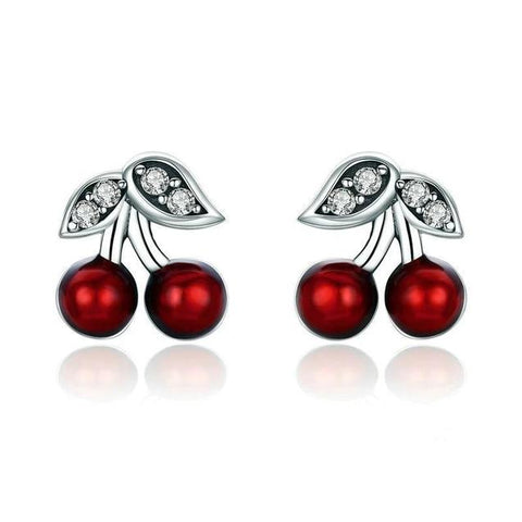 Red Bead White Crystal Sterling Silver Cherry Stud Earrings
