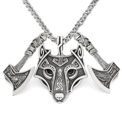 Native Wolf Axe Pendant Necklace (2 Available Color)