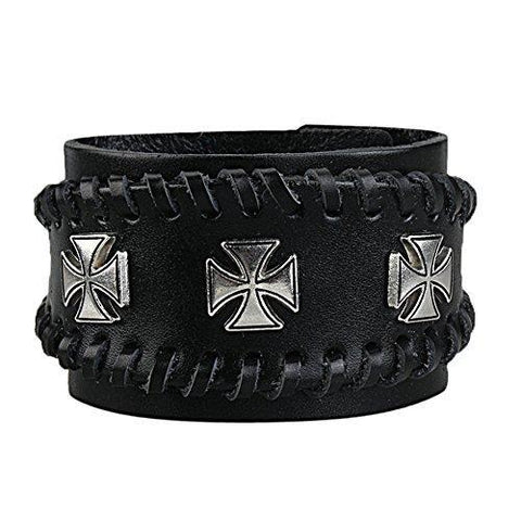 Gothic Cross Steel Stud Stitched Leather Cuff