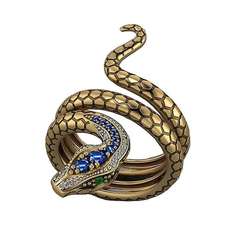 Gold Serpent Colored Zirconia Fashion Ring