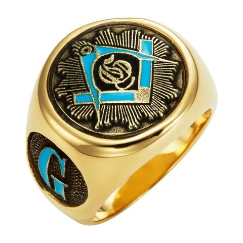 Men's Stainless Steel Blue Masonic Ring