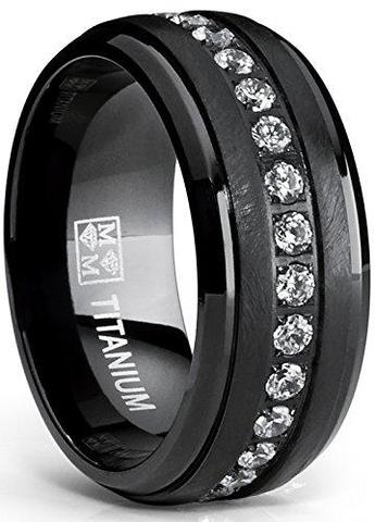 Black Brushed Round Cubic Zirconia Titanium Wedding Band