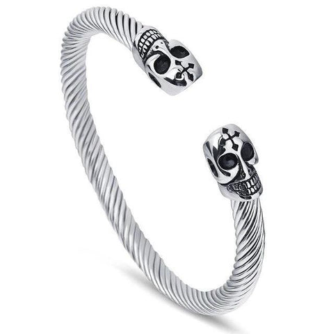Skull Cross Stainless Rope Bangle (5 Available Color)