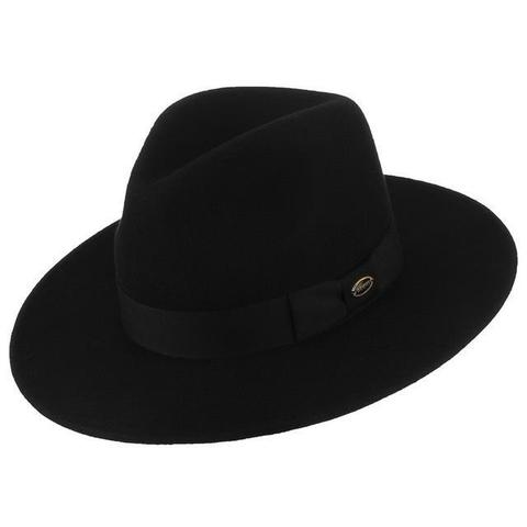 Flat Brim Black Wool Fedora Hat