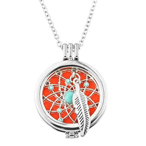 Filigree Round Locket Pendant Feather Charm Essential Oil Diffuser Necklace