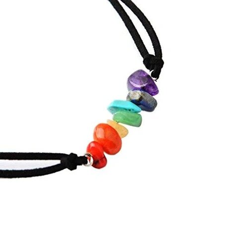 Colorful Lava Rock Beads Black Leather Cord Choker Necklace