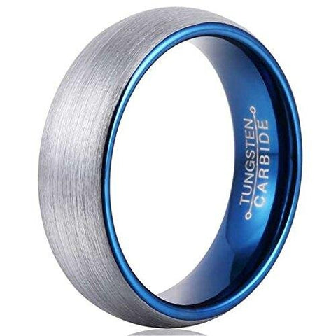 Men Silver Domed Blue Tungsten Carbide Promise Band
