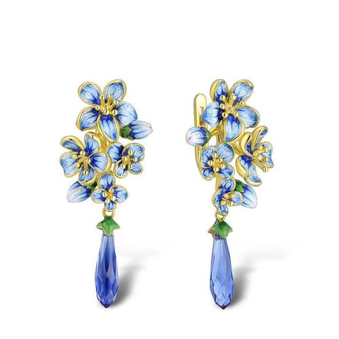 Blue Enamel Crystal Flower Gold Sterling Silver Earrings