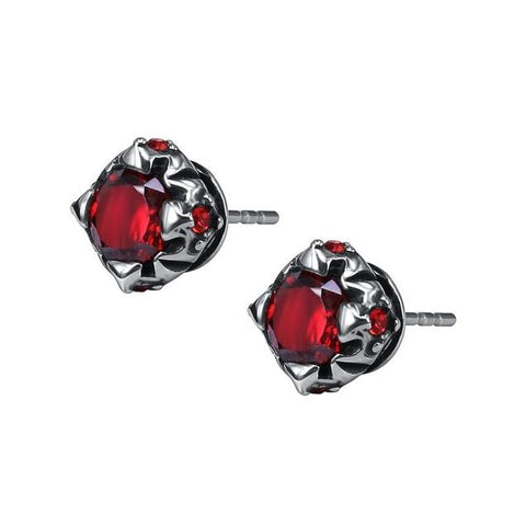 Simulated Red Ruby Gothic Flower Stud Earring