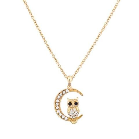 Gold CZ Pave Owl Quarter Moon Pendant Necklace