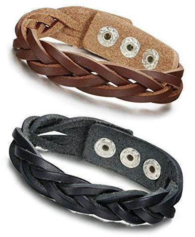Adjustable Two-Piece Set Unisex Braided Leather Bracelet