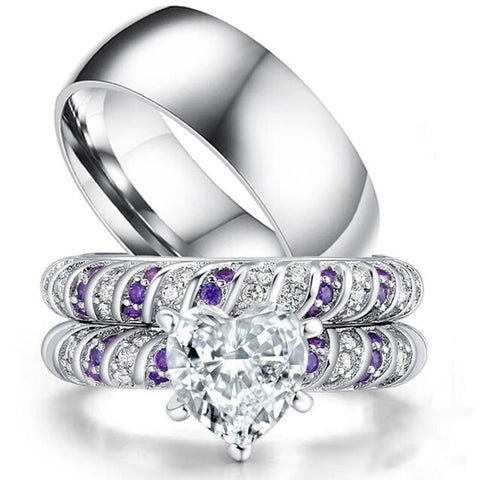 Purple & White Heart Pronged Stainless Ring Set