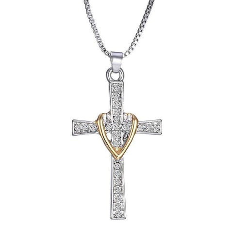 Crystal Pave Christian Cross Heart Collar Necklace