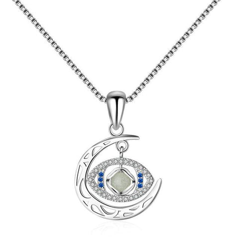 Moon and Horus Eye Crystal Sterling Silver Jewelry Set