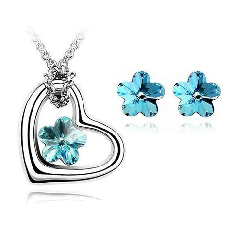 Floral Crystal Open Heart Stainless Steel Necklace Set
