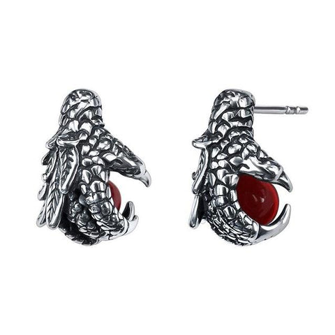 Mythical Dragon Ball Claw Red Crystal Stainless Stud earring