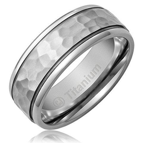 Men's Hammered Satin Titanium Wedding Band
