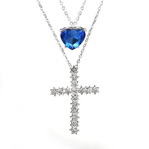 Layered Crystal Heart Cross Pendant Silver–Tone Necklace