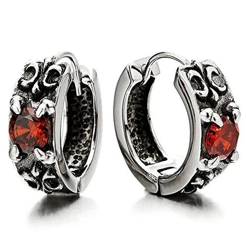 Vintage Stainless Steel with Cubic Zirconia Hoop Earrings