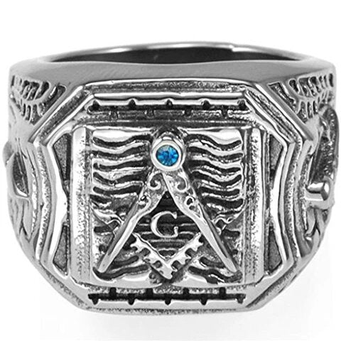 Stainless Steel Masonic Ring Signet Style with Blue Cubic Zirconia