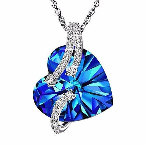Blue Heart White Crystal Sterling Silver Necklace