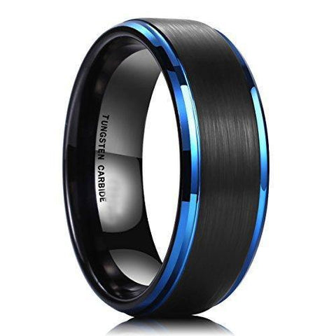 Blue Black Brushed Tungsten Promise Ring