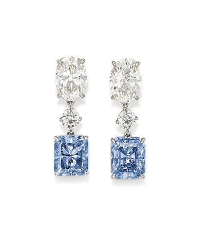 Rare Clear and Colored Diamond Earrings