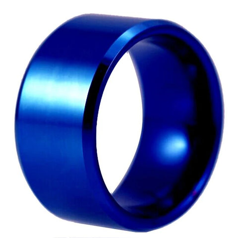 12MM Blue Tungsten Carbide Comfort Fit Ring