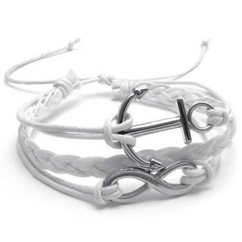 Adjustable Anchor and Infinity Charm Bracelet
