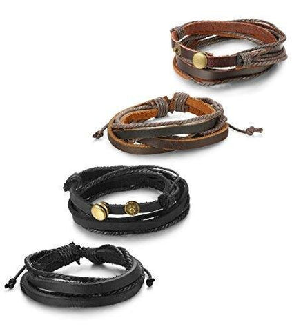 Unisex Four Piece Unisex Leather String Slide Closure Bracelet