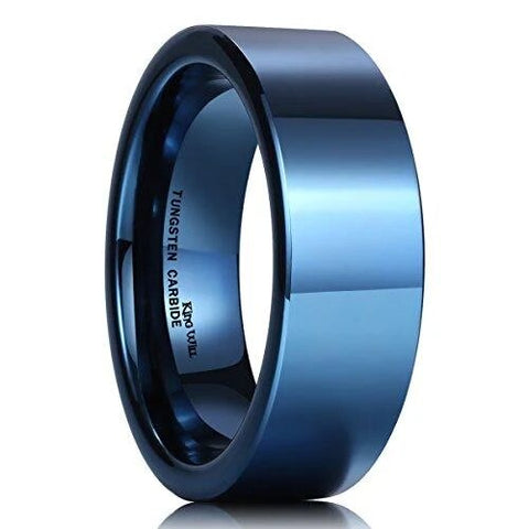 Blue Flat Top Tungsten Classic Engagement Band