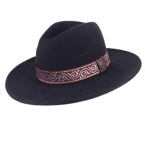 Embroidered Red & Silver Hatband Fedora Hat (3 Available Colors)
