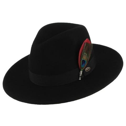 Peacock Feather Black Felt Panama Hat (4 Available Colors)