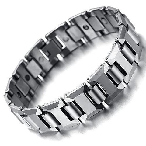 Thick Silver Tungsten Carbide Magnetic Bracelet