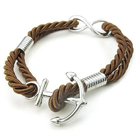 Brown Silver Love Infinity Anchor Rope Bracelet