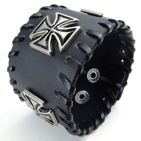 Gothic Cross Wide Black Leather Cuff