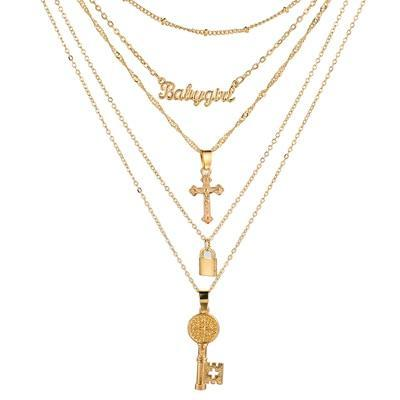 5 Layer Decollate Charm Gold-plated Necklace