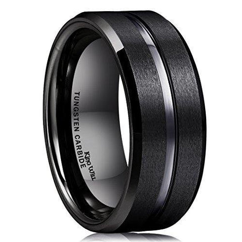 Satin Black Middle Groove Tungsten Carbide Ring