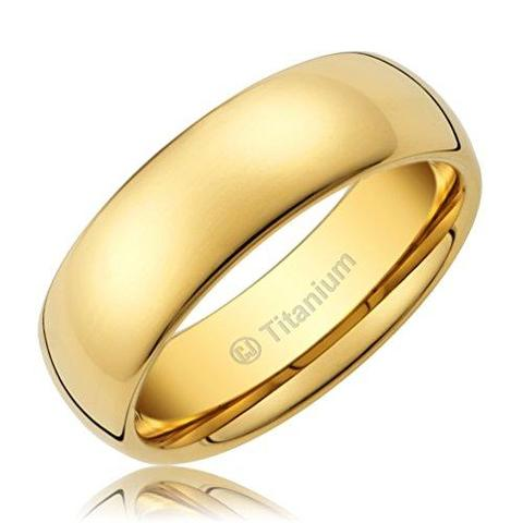 Classic Titanium 14K Gold-Plated Gay Lesbian Wedding Ring