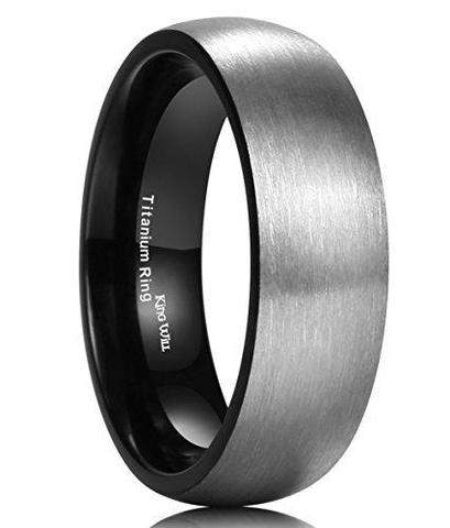 Titanium Brushed Black Wedding Band For Men