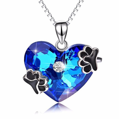 Black Paw Blue Heart Crystal Sterling Silver Necklace