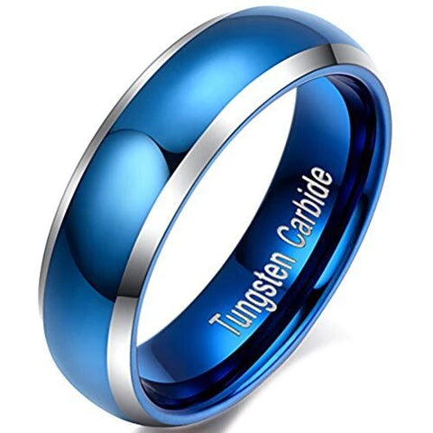 Blue Silver Domed Tungsten Carbide Wedding Ring