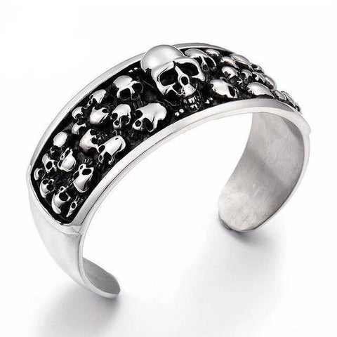 Black & Silver Stainless Skull Thick Bangle