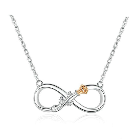 Sterling Silver Infinity Gold Rose Pendant Necklace