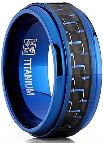Men's Black Carbon Fiber Inlay Blue Titanium Wedding Bands