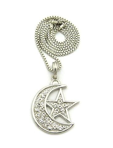 Silver Hip Hop Iced Crescent Moon Star Pendant Chain Necklace